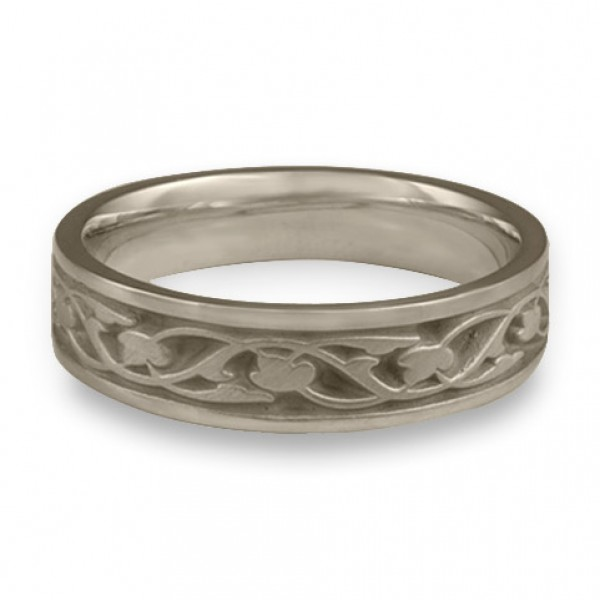 Narrow Tulips and Vines Wedding Ring in 14K White Gold