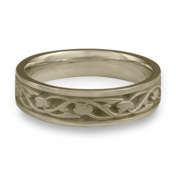Narrow Tulips and Vines Wedding Ring in 18K White Gold