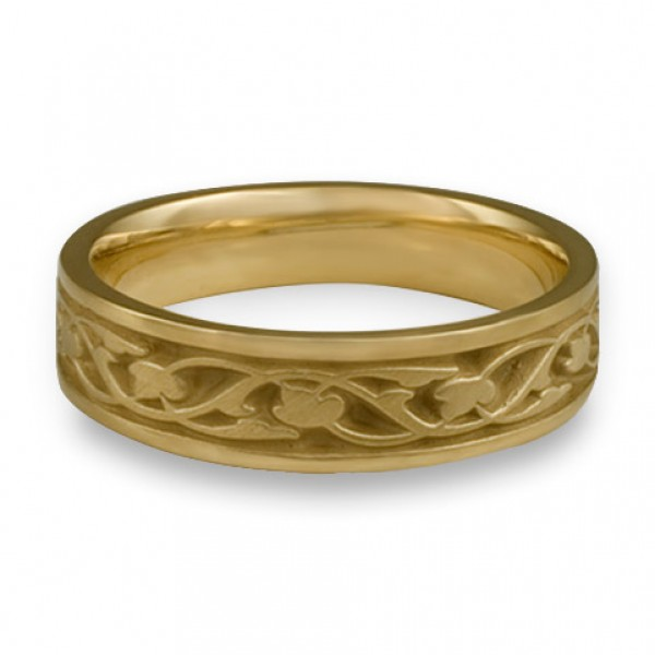Narrow Tulips and Vines Wedding Ring in 18K Yellow Gold