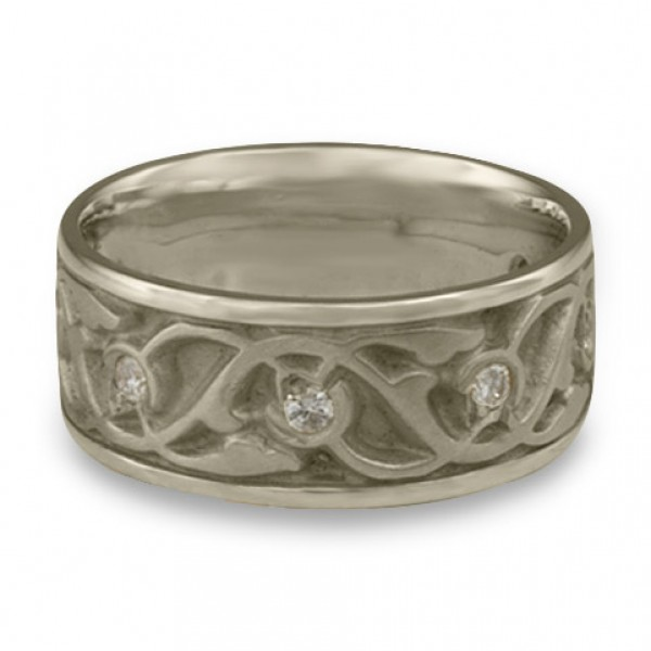 Wide Tulips and Vines Wedding Ring With Diamonds in 14K White Gold