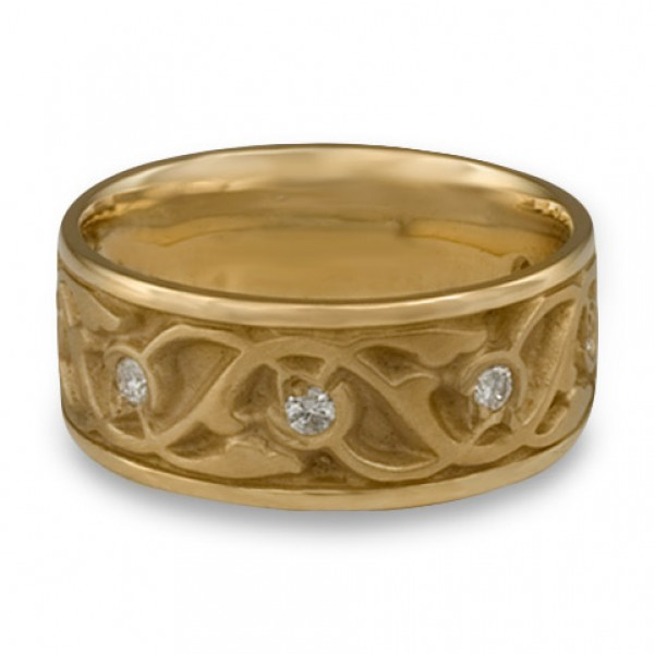 Wide Tulips and Vines Wedding Ring With Diamonds in 14K Yellow Gold