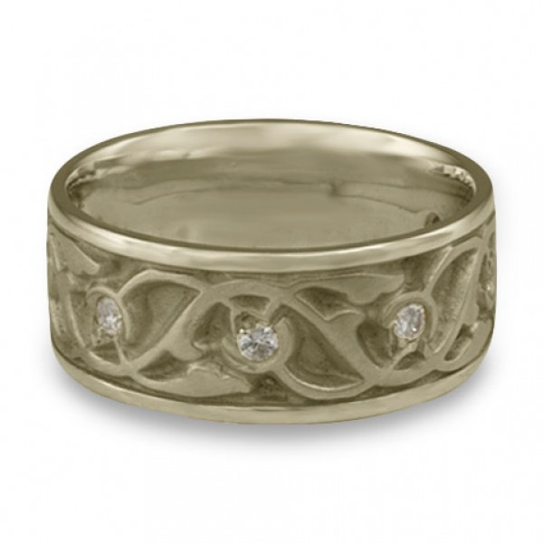 Wide Tulips and Vines Wedding Ring With Diamonds in 18K White Gold