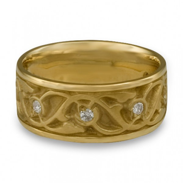 Wide Tulips and Vines Wedding Ring With Diamonds in 18K Yellow Gold