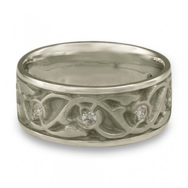 Wide Tulips and Vines Wedding Ring With Diamonds in Platinum