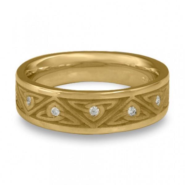 Narrow Trinity Knot With Diamonds Wedding Ring in 18K Yellow Gold