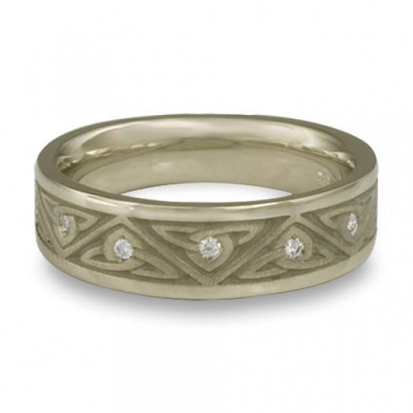 Narrow Trinity Knot With Diamonds Wedding Ring in 18K White Gold