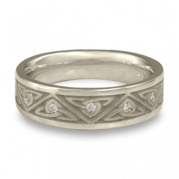 Narrow Trinity Knot With Diamonds Wedding Ring in Platinum