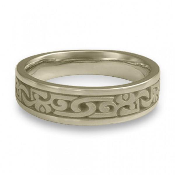 Narrow Luna Wedding Ring in 18K White Gold