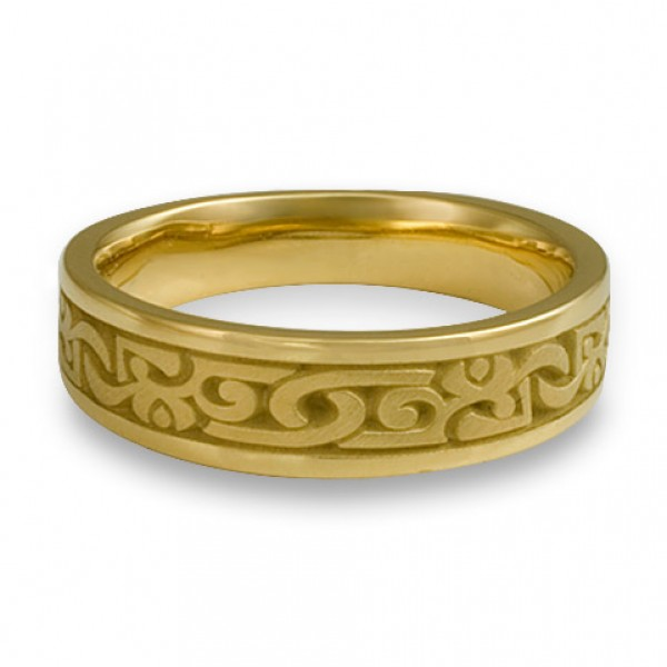 Wide Luna Wedding Ring in 18K Yellow Gold