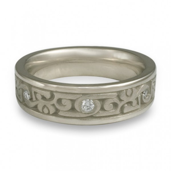 Narrow Luna With Diamonds Wedding Ring in 14K White Gold