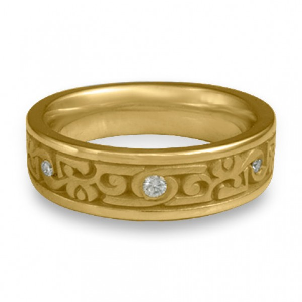 Narrow Luna With Diamonds Wedding Ring in 14K Yellow Gold