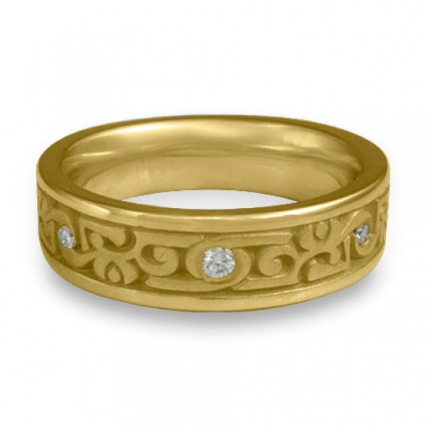 Narrow Luna With Diamonds Wedding Ring in 18K Yellow Gold