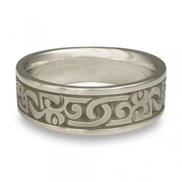 Wide Luna Wedding Ring in 14K White Gold