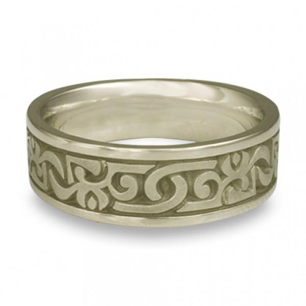 Wide Luna Wedding Ring in 18K White Gold