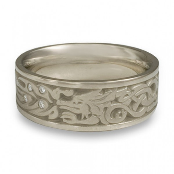 The Guardian Wedding Ring with Diamonds in 14K White Gold