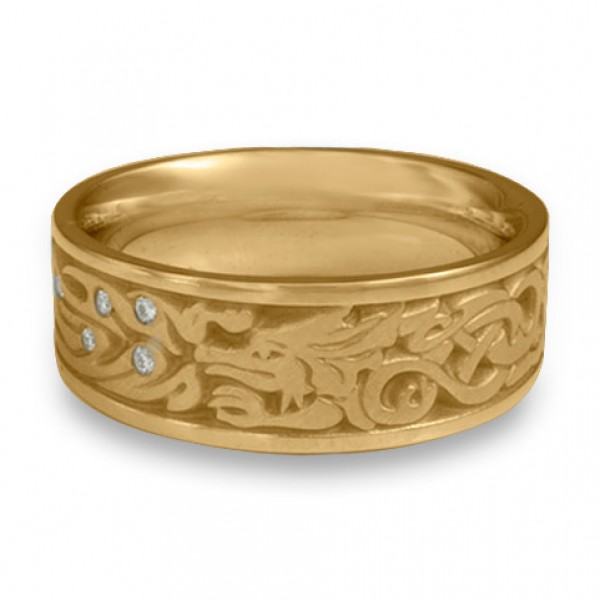 The Guardian Wedding Ring with Diamonds in 14K Yellow Gold