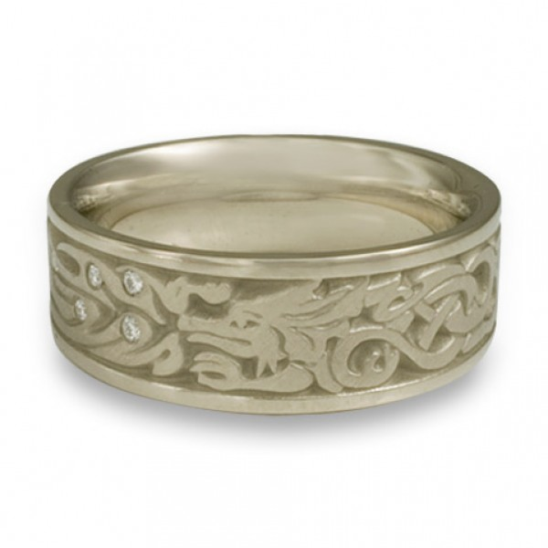 The Guardian Wedding Ring with Diamonds in 18K White Gold