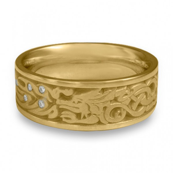 The Guardian Wedding Ring with Diamonds in 18K Yellow Gold