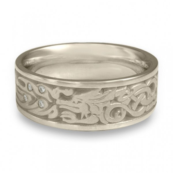 The Guardian Wedding Ring with Diamonds in Platinum