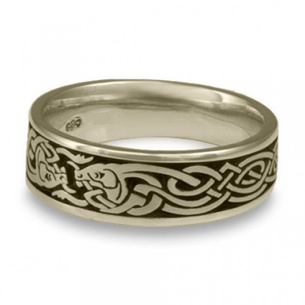 Celtic Hunt Wedding Ring in 14K White Gold