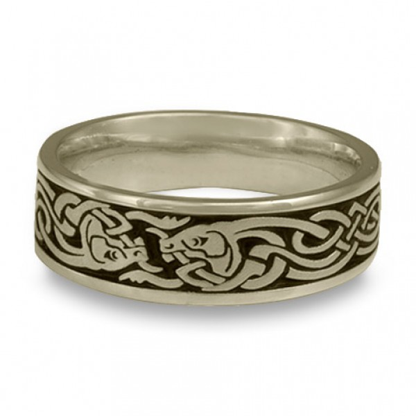 Celtic Hunt Wedding Ring in 18K White Gold
