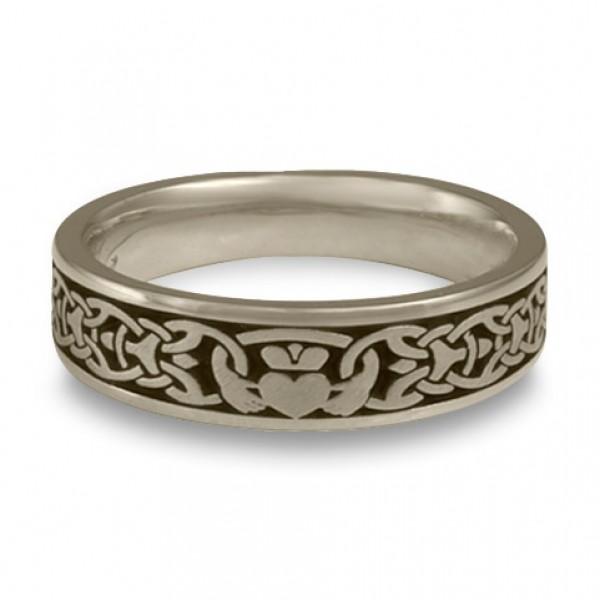 Narrow Claddagh Wedding Ring in 14K White Gold