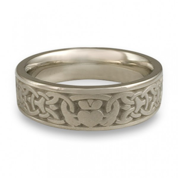 Wide Claddagh Wedding Ring in 14K White Gold