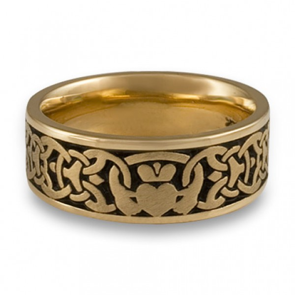 Wide Claddagh Wedding Ring in 14K Yellow Gold