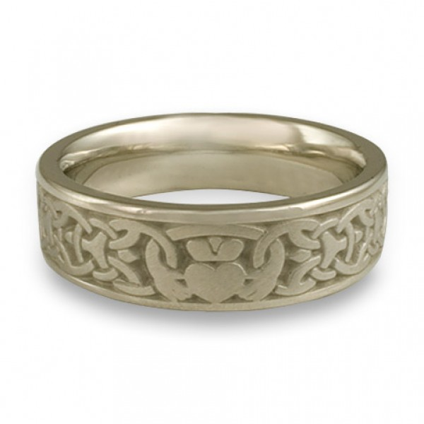 Wide Claddagh Wedding Ring in 18K White Gold