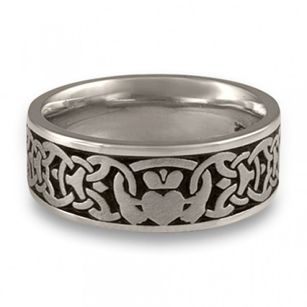 Wide Claddagh Wedding Ring in Platinum