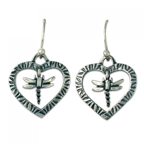 Taliesan Heart with Dragonfly Earrings
