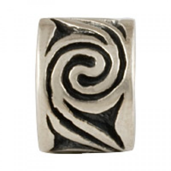 Spiral Bead - Antiqued Silver