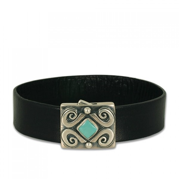 Piedra Leather Bracelet with Gem