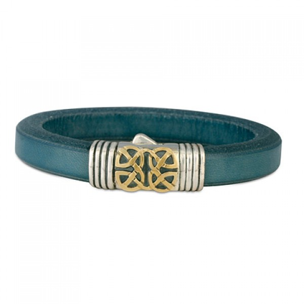 Scroll Leather Mixed Metal Bracelet