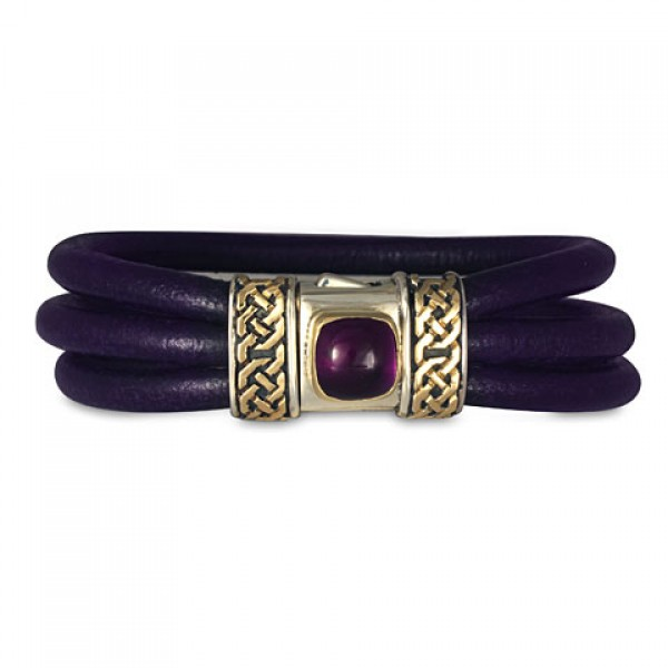 Amethyst Shannon Leather Bracelet