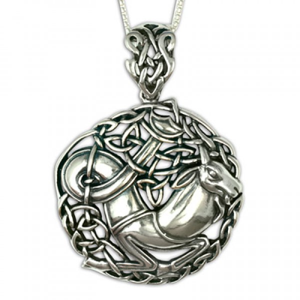 Capricorn the Goat Silver Pendant (Large)
