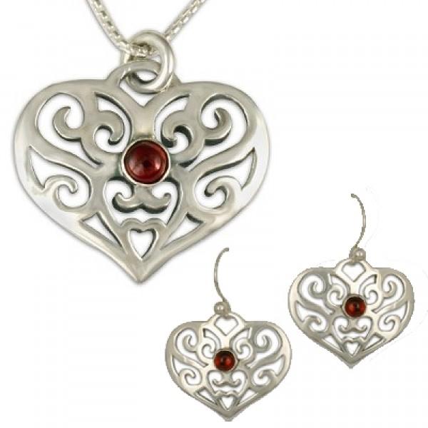 Collette's Heart Pendant & Earrings Set with Gem SS