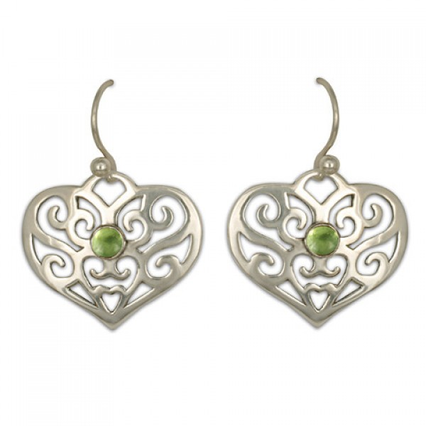 Collette Heart Earrings with Gem