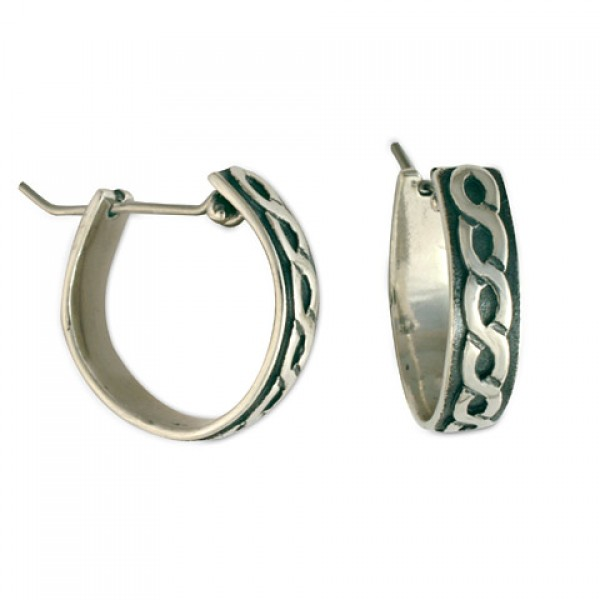 Rope Hoop Silver Earrings