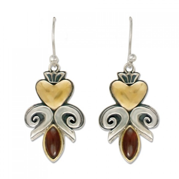 Fleur de lis Heart Earrings