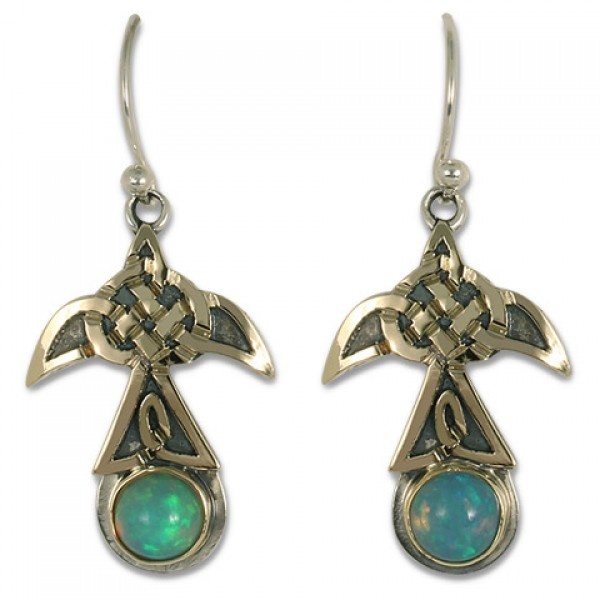 Swallow Large Mixed Metal Earrings with Opal