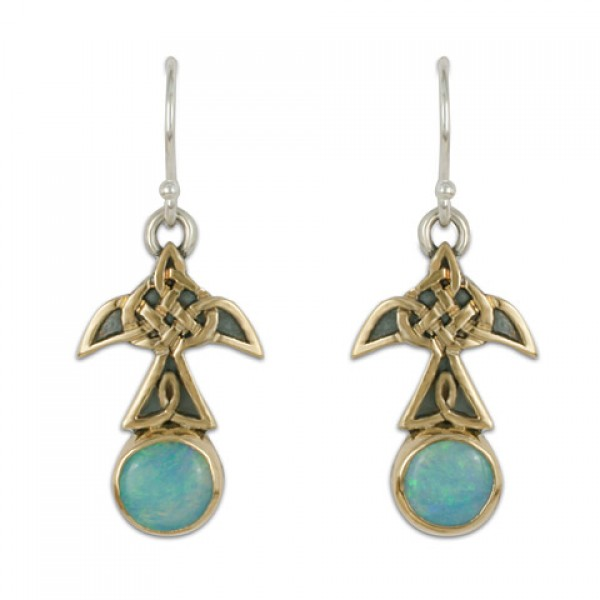 Swallow Small Mixed Metal Earrings with Opal