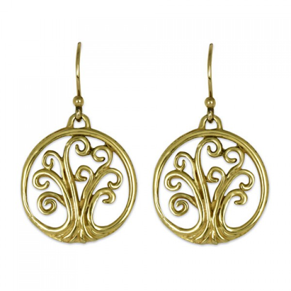 Mini Tree of Life Gold Earrings