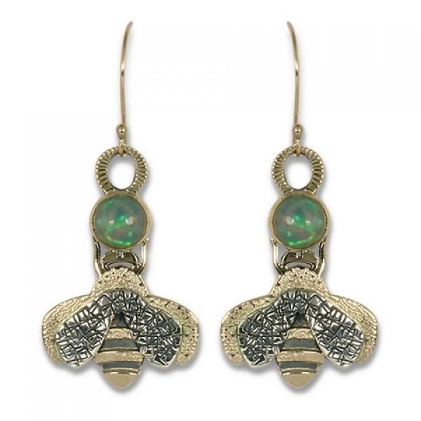 Bee Earrings with Ethiopian Opal
