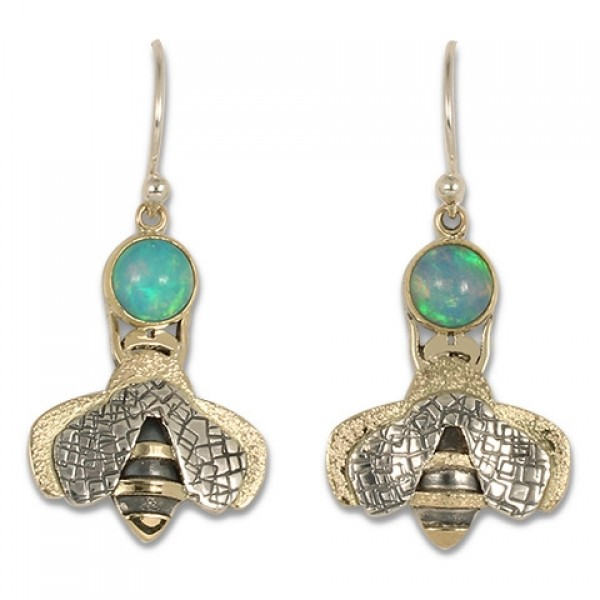 Simply Bee Earrings with Ethiopian Opal