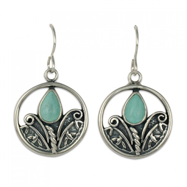Tulip with Turquoise Silver Earrings