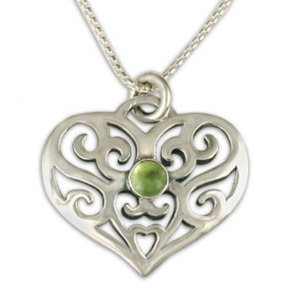 Collette's Heart Pendant with Gem