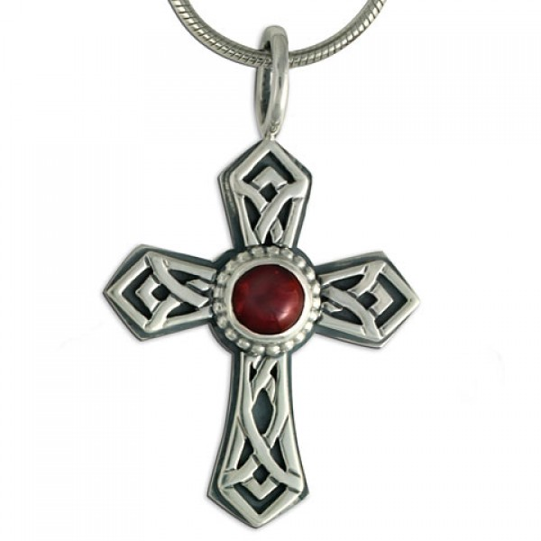 Pictish Cross with Gem on Chain