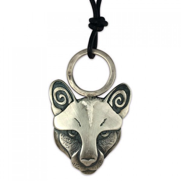 Mountain Lion Pendant Silver on Leather