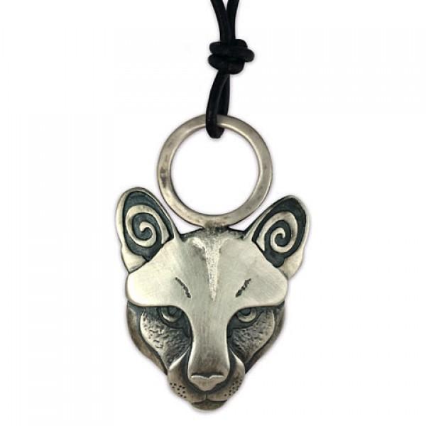 Mountain Lion Pendant Silver on Leather